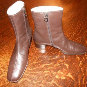 Ferragamo Brown Leather Ankle Boots Sz 8.5